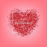 Happy Valentine`s Day greeting card template. Vector red hearts and Happy Valentine`s Day text on pink background. Royalty Free Stock Images