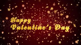 Happy Valentine`s Day Greeting card text shiny particles for celebration,festival. Greeting card text with sparkling particles shiny background for celebration stock footage