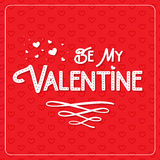 Happy Valentine`s Day greeting card. Typography poster on red background with lovely hearts. Romantic vector lettering Stock Image
