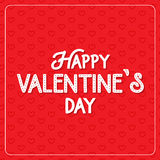 Happy Valentine`s Day greeting card. Typography poster on red background with lovely hearts. Romantic vector lettering. Happy Valentine`s Day greeting card royalty free illustration