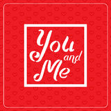 Happy Valentine`s Day greeting card. Typography poster on red background with lovely hearts. Romantic vector lettering Royalty Free Stock Photography