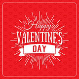 Happy Valentine`s Day greeting card. Typography poster on red background with lovely hearts. Romantic vector lettering Royalty Free Stock Images