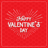 Happy Valentine`s Day greeting card. Typography poster on red background with lovely hearts. Romantic vector lettering. Happy Valentine`s Day greeting card vector illustration