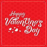 Happy Valentine`s Day greeting card. Typography poster on red background with lovely hearts. Romantic vector lettering Stock Images