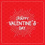 Happy Valentine`s Day greeting card. Typography poster on red background with lovely hearts. Romantic vector lettering. Happy Valentine`s Day greeting card stock illustration