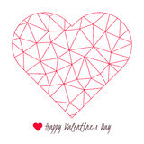 Happy Valentine`s Day greeting card, vector poly red heart shape symbol. Happy Valentine`s Day greeting card Royalty Free Stock Photography