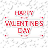 Happy valentine's day greeting card with white hearts Royalty Free Stock Images