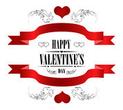 Happy Valentine's Day Greeting Card on white Stock Photos