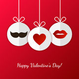 Happy Valentine`s Day greeting card. Womens lips, mens mustache Stock Image