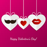 Happy Valentine`s Day greeting card. Womens lips, mens mustache Stock Photography