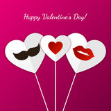 Happy Valentine`s Day greeting card. Womens lips, mens mustache Stock Photos