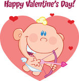 Happy Valentine's Day Greeting With Cute Baby Cupid Flying With Bow And Arrow Royalty Free Stock Photos