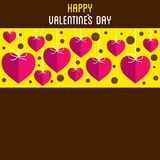 Happy valentine`s day greeting design. Happy valentine`s day greeting card, heart hang pattern with blank space to write your text Stock Image