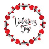 Happy valentine`s day greeting design. Happy valentine`s day greeting card, with round love red heart frame Stock Photo