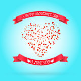 Happy Valentine's day greeting or invitation card. With heart of particles. Vector illustration. Can be used for your poster, flyer, other design royalty free illustration