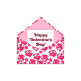 Happy Valentine's Day greeting letter in the envelope. Pink flowers. Can be used as sticker design in scrapbooking royalty free illustration