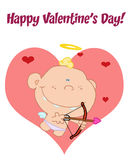 Happy Valentine S Day Greeting Over A Baby Cupid Stock Photography
