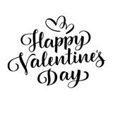 Happy Valentine`s Day. Vector lettering. Holiday greeting text. Black on white Stock Photography