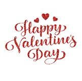 Happy Valentine`s Day. Vector lettering. Holiday greeting text Stock Photos