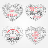 Happy Valentine's Day greetings card, labels, badges, symbols, i Royalty Free Stock Image