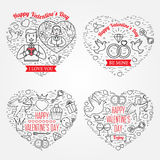 Happy Valentine's Day greetings card, labels, badges, symbols, i Stock Images