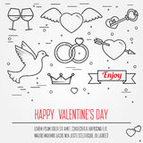 Happy Valentine's Day greetings card, labels, badges, symbols, i Royalty Free Stock Photography