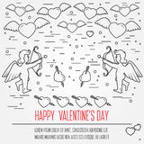 Happy Valentine's Day greetings card, labels, badges, symbols, i. Llustrations, tattoo, t-shirts, banners, flyers and other types of business design with place Royalty Free Stock Photo