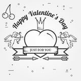 Happy Valentine's Day greetings card, labels, badges, symbols, i Stock Photo