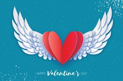 Happy Valentine`s Day Greetings Card. Origami Angel Wings And Romantic Red Heart. Love. Winged Heart In Paper Cut Style Royalty Free Stock Photo