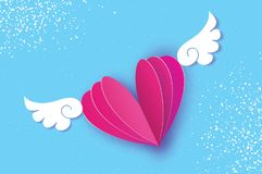 Happy Valentine`s Day Greetings card. Origami angel wings and romantic pink heart. Love. Winged heart in paper cut style. Blue sky background. Vector Stock Photo