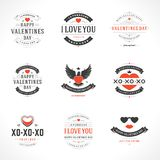 Happy Valentine's Day greetings cards. Labels, badges, symbols, illustrations and typography vector elements Royalty Free Stock Photos