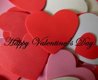 Happy Valentine`s Day Greetings with Hearts royalty free stock photo