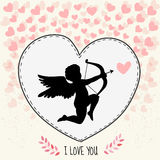 Happy valentine's day gritting card. Cupidon is aiming in the heart Stock Images