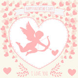 Happy valentine's day gritting card. Cute kupidon is aiming in the heart Royalty Free Stock Photo