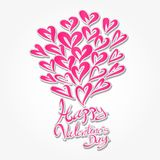 Happy Valentine`s Day hand drawn brush lettering, banner vector illustration, greeting card, web icon. Pink heart shape, header, Lettering Valentine`s day Royalty Free Stock Image