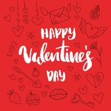Happy Valentine`s Day hand drawn brush lettering with long shadow, isolated on rich red background. Perfect for holiday vector illustration