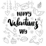Happy Valentine`s day. Hand drawn brush pen lettering on gold and silver glittering hearts background. design for royalty free illustration