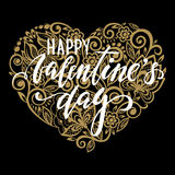 Happy Valentine`s day Hand drawn calligraphy and brush pen lettering with gold heart with a floral swirl. Royalty Free Stock Images