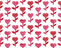 Happy Valentine`s Day hand drawn cute illustration with hearts and flowers. Happy Valentine`s Day hand drawn cute illustration. Watercolor seamless pattern  with Stock Images