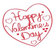 Happy valentine`s day ! Hand drawn heart shape. Red illustration II. Stock Photos