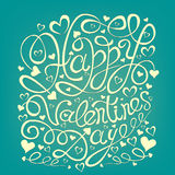 Happy Valentine's Day hand drawn lettering greeting card template. Stock Photography