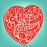 Happy Valentine's Day hand drawn lettering greeting card template Stock Image
