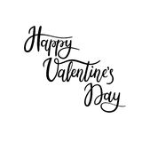 Happy Valentine`s Day Hand Lettering Greeting Card. Modern Calligraphy. Vector Illustration vector illustration