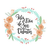Happy Valentine`s Day Hand Lettering Greeting Card. Modern Calligraphy. Vector Illustration royalty free illustration