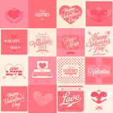 16 Happy Valentine's Day Hand. Happy Valentine's Day Hand Lettering - Typographical Background Stock Photos