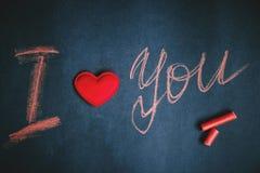 Happy Valentine`s day, handwritten chalk inscription I love you royalty free stock image