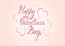 Happy Valentine`s Day handwritten lettering greeting card or poster Royalty Free Stock Photo