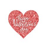 Happy Valentine`s day. Handwritten phrase on red shining heart. Sparkle decorative template. Valentine`s day design. Vector illustration EPS 10 isolated on stock illustration