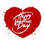 Happy Valentine's Day handwritten text, brush pen lettering on heart Stock Photo