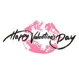 Happy Valentine's Day handwritten text, brush pen lettering on lipstick trace. Vector illustration Royalty Free Stock Photography